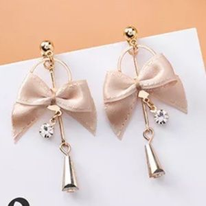 Cute GP bow cloth with crystals Earrings 🌸